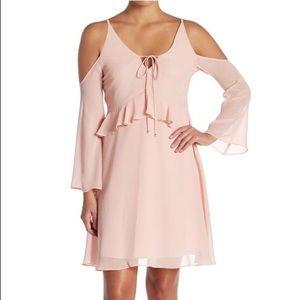 Sam Edelman Cold-Shoulder Ruffle Dress in Blush